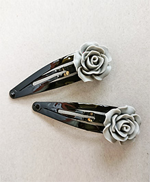 Tiny Closet Rose Applique Hair Clip Set Of 2 - Grey