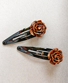 Tiny Closet Rose Applique Hair Clip Set Of 2 - Brown
