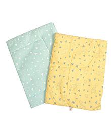 BeeBop Diaper Changing Mats Heart Print Pack Of 2 - Green & Yellow