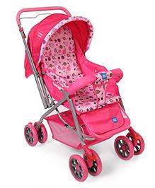 Mee Mee Baby Pram Cum Stroller With Reversible Handle Flower Print - Pink