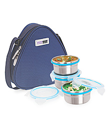 Steel Lock Food Storage Containers Set Of 3 With Insulated Bag - Silver Blue