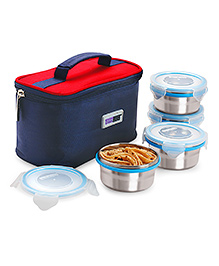 Steel Lock Food Storage Containers Set Of 4 With Insulated Bag - Silver Red Blue