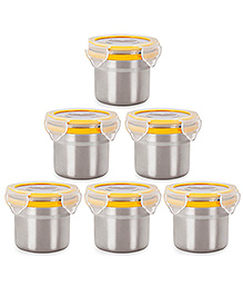 Steel Lock Airtight Food Storage Containers Set Of 6 - Silver Yellow - 1792839