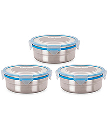 Steel Lock Airtight Food Storage Containers Set Of 3 - Silver Blue