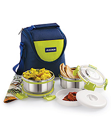 Magnus Stainless Steel Lunch Box With Bag & Pouch Navy- 300 Ml