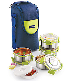 Magnus Stainless Steel Lunch Box With Bag - Blue & Green