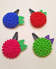 Soulfulsaai Pompom Rosette 4 Hair Clips - Blue Red Pink Green