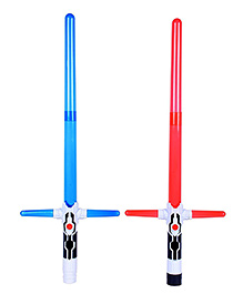 Planet Of Toys Space Wars Sword With Lights And Sound Set Of 2 Red Blue - Length 48 Cm