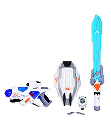Planet Of Toys Gun Weapon & Sword Combo Set With Light & Music - White