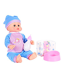 Planet Of Toys Baby Doll With Milk Bottle Potty Trainer & Diaper - Pink Blue