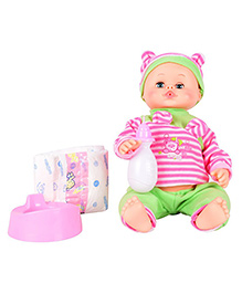 Planet Of Toys Baby Doll With Milk Bottle Potty Trainer & Diaper - Pink Green