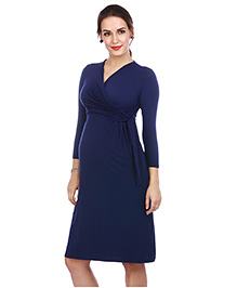 The Mommy Collective Three Fourth Sleeves Maternity Dress - Navy Blue - 1797238