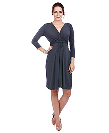 The Mommy Collective Three Fourth Sleeves Top Knot Maternity Dress - Dark Grey