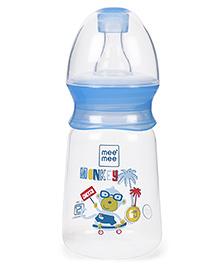 Mee Mee Monkey Printed Feeding Bottle Blue - 130 Ml