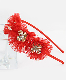 Tia Hair Accessories Flower Frilled Hair Band - Red