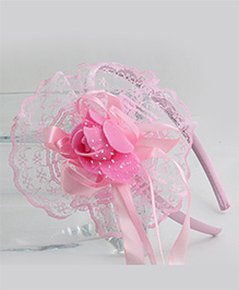 Tia Hair Accessories Double Frilled Hair Band - Pink