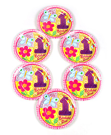 Funcart Disposable Paper Plates Birthday Girl Theme Multi Color Pack Of 6 - 17.7 Cm Each