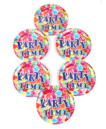 Funcart Disposable Paper Plates Party Theme Multi Color Pack Of 6 - 17.7 Cm Each - 1799882