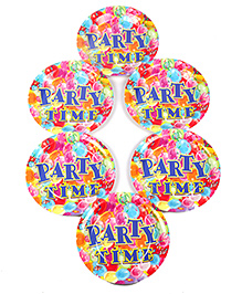 Funcart Disposable Paper Plates Party Theme Multi Color Pack Of 6 - 22.8 Cm Each - 1799883