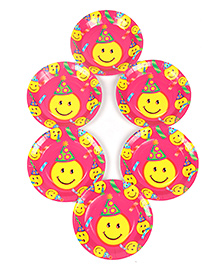 Funcart Disposable Paper Plates Smiley Print Multi Color Pack Of 6 - 17.7 Cm Each