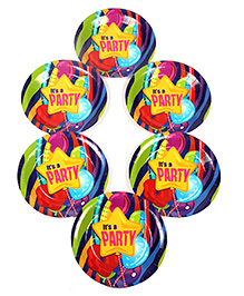 Funcart Disposable Paper Plates Party Theme Multi Color Pack Of 6 - 17.7 Cm Each