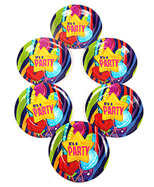 Funcart Disposable Paper Plates Party Theme Multi Color Pack Of 6 - 22.8 Cm Each