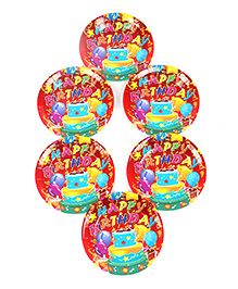 Funcart Disposable Paper Plates Cake Theme Multi Color Pack Of 6 - 17.7 Cm Each