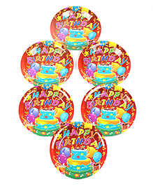 Funcart Disposable Paper Plates Cake Theme Multi Color Pack Of 6 - 22.8 Cm Each