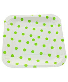 Funcart Square Shape Paper Plates Polka Dots Print Green & White - 12 Pieces