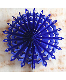 Funcart Snowflake Paper Fan Royal Blue - Diameter 30 Cm
