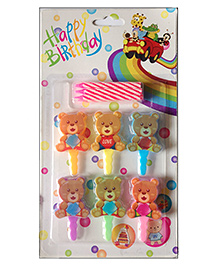 Funcart Topper Candle Teddy Shape Multi Color - Pack Of 6