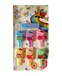 Funcart Topper Candle Kitty Shape Multi Color - Pack Of 6
