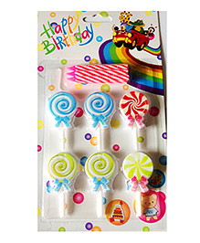 Funcart Topper Candle Candy Shape Multi Color - Pack Of 6
