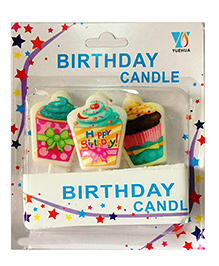 Funcart Topper Candle Cupcake Shape Multi Color - Pack Of 3