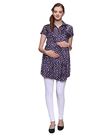 Mamma's Maternity Short Sleeves Nursing Tunic Apple Print - Purple