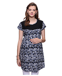 Mamma's Maternity Short Sleeves Nursing Tunic Printed - Black