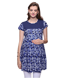 Mamma's Maternity Short Sleeves Nursing Tunic Printed - Blue