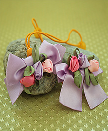 Many Frocks & Pack Of 2 Satin Bow Rubber Bands - Lavender