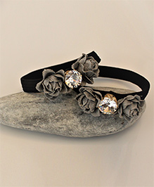 Shilpi Datta Som Pack Of 2 Satin Flower Diamonte Rubber Band - Grey & Black