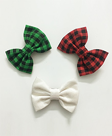 Knotty Ribbons Set Of 3 Aligator Clips - White Red Green