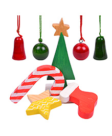 Playthings Christmas Decoration Set Of 8 - Green Red Yellow