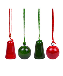 Playthings Christmas Bells & Balls Set Of 4 - Green Red