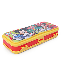 Disney Mickey Mouse & Friends Dual Compartment Pencil Box With Marker - Yellow Red