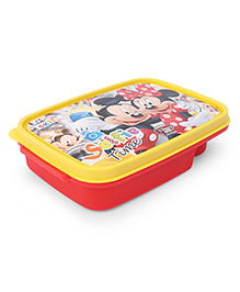 Disney Mickey And Minnie Lunch Box With 2 In 1 Fork & Spoon - Red Yellow