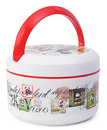 SKI Plastoware Insulated Lunch Box With Handle - Red White