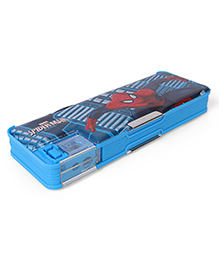 Marvel Spiderman Dual Sided Pencil Box With Sharpener - Blue