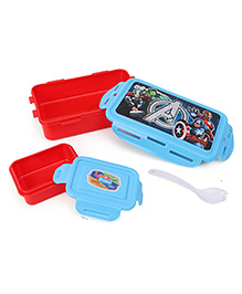 Marvel Avengers Lunch Box With Clip Lock & Forkspoon - Red Blue