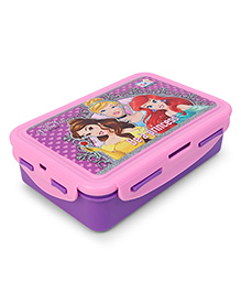 Disney Princess Lunch Box With Clip Lock Feature - Pink Purple