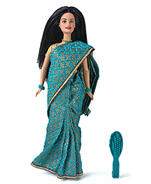 Barbie Doll In India With Saree & Accessories Blue - Height 29 Cm
