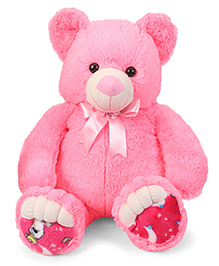 Liviya Teddy Bear Soft Toy With Bow Pink - Height 82 Cm